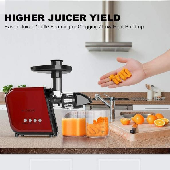 KOIOS Juicer - Slow Masticating Juicer Extractor with Reverse Function